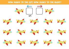 izquierda o derecha con avión. hoja de trabajo lógica para niños en edad preescolar. vector