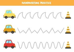 Trace the lines with cartoon cars. Writing practice. vector