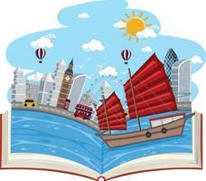 libro abierto con escena de la ciudad de londres vector
