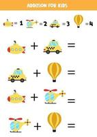 Addition for kids with cartoon transport means. vector