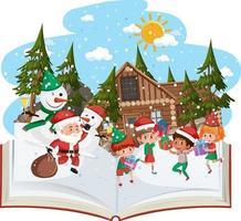 libro abierto con muchos niños en tema navideño vector