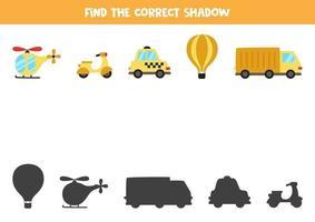 Encuentra la sombra correcta de los vehículos. rompecabezas lógico para niños. vector