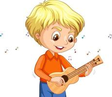 Character of a boy playing ukulele on white background vector