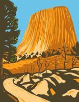 monumento nacional de la torre del diablo en el distrito de guardabosques de bear lodge de las colinas negras en wyoming, wpa poster art