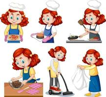 Set of a cute girl doing different activities vector