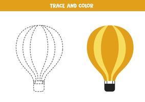 trazar y colorear globo de aire. hoja de trabajo de espacio para niños. vector