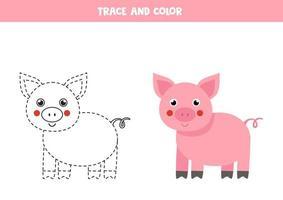 trazar y colorear cerdo lindo. hoja de trabajo de espacio para niños. vector