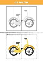 Cut and glue game for kids. Cartoon bicycle. vector