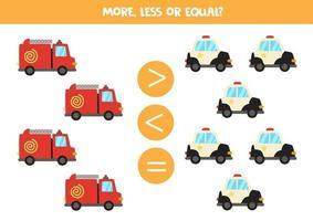 más, menos, igual con coche de policía y camión de bomberos. vector