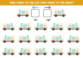 Left or right with ambulance car. Logical worksheet for preschoolers. vector