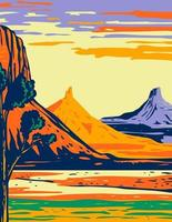 North and South Six Shooter Peak in Bears Ears National Monument located in San Juan County Utah WPA Poster Art vector