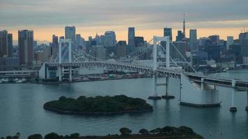 Timelapse Rainbow Bridge with Tokyo Tower,Tokyo Japan