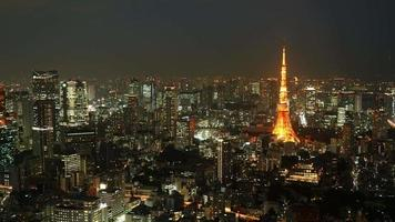 Time lapse Tokyo Tower in Tokyo City at night,Japan video