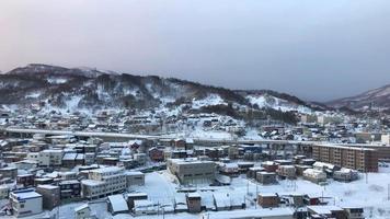 Otaru Stadtansicht mit Schnee, Hokkaido Japan