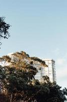 edificio masivo en medio de los árboles con un cielo brillante con espacio de copia