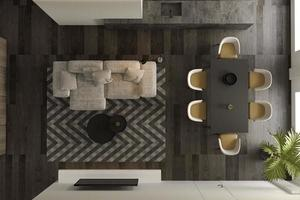 Top view of a black minimalist interior of a modern living room in 3D rendering