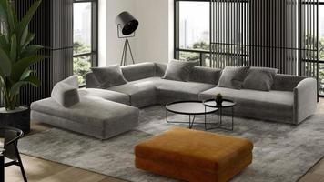 Minimalist interior of a modern living room in 3D rendering photo