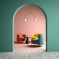 Memphis style conceptual interior room in 3d illustration