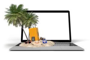 Render 3D de artículos de vacaciones de viaje