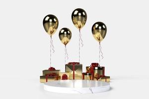 Cajas de regalo 3d con globos en el fondo foto