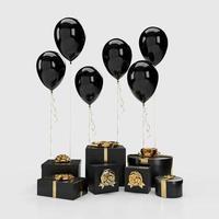 Caja de regalo 3d con globos en el fondo foto