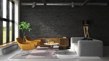 Interior of a modern living room in 3D rendering