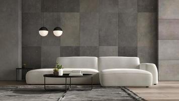 interior minimalista de una moderna sala de estar en la ilustración 3d