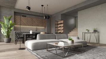 Minimalist interior of a modern living room in 3D rendering