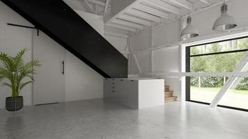 Interior of an empty barn house in 3D rendering