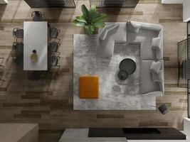 Top view of a minimalist interior of a modern living room in 3D rendering
