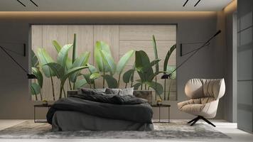 Minimalist interior of a modern living room in 3D illustration