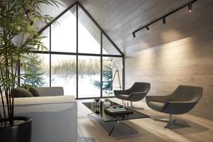 An interior living room of a forest house in 3D illustration