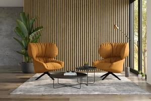 interior minimalista de una moderna sala de estar en la ilustración 3d foto