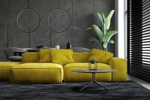 Interior minimalista de una moderna sala de estar en 3D. foto