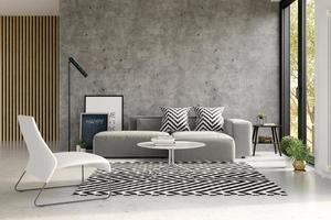Interior of a modern living room with sofa in 3D rendering photo