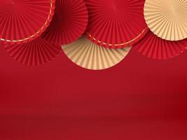 Medallón de abanico de papel abstracto sobre fondo foto