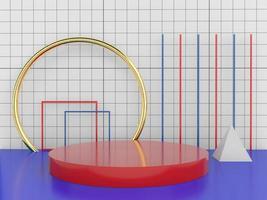 elementos de diseño mínimo de forma geométrica, representación 3d foto