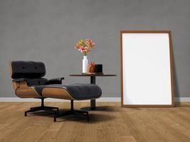 Mockup poster frame with home decoration