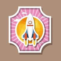 cohete sobre la ilustración de vector de diseño de etiqueta de rayas