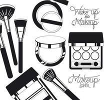 productos de maquillaje estilo silueta vector