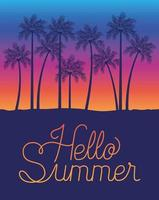 Hello summer and palm trees design vector