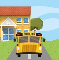 school building and bus in the road scene vector