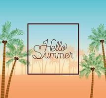 Hello summer and vacation frame design vector