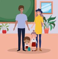 Cute interracial family in the classroom vector