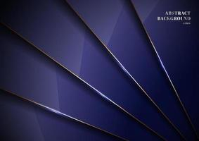 Elegant blue metallic glossy background overlapping layer with shadow with gold line luxury style. vector