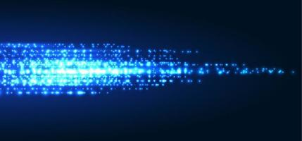 Abstract technology futuristic blue magic particles lines light sparkling glitter on dark background. vector