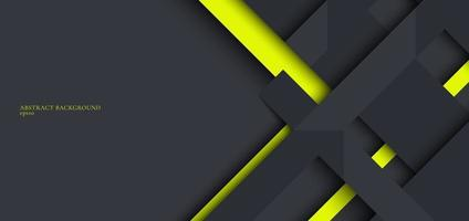 Plantilla de diseño web de banner rayas geométricas grises y verdes superpuestas con sombra sobre fondo oscuro vector