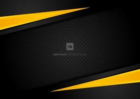 Abstract template yellow geometric triangles contrast black background. vector
