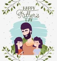 happy fathers day card with dad and daughters characters vector