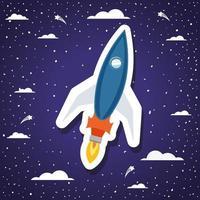 cohete sobre fondo con nubes diseño ilustración vectorial vector